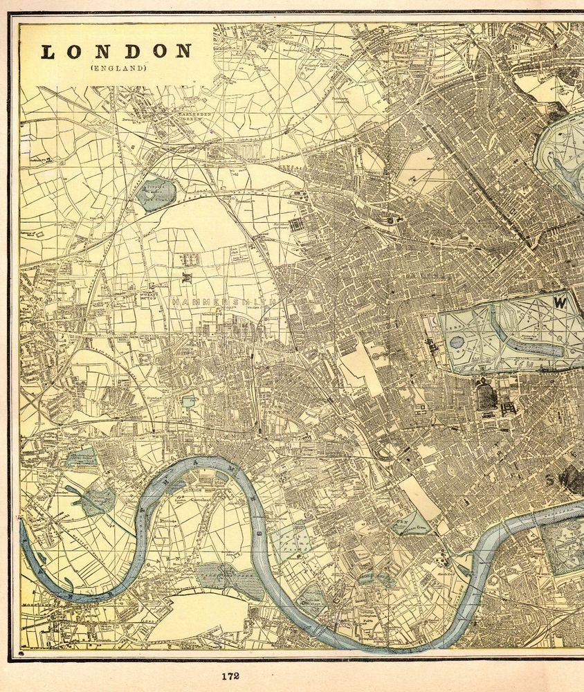 1892 Antique London England Map Vintage City Map Of London Gallery Wall Art 5148 Antique London Map London City Map Street Map Of London