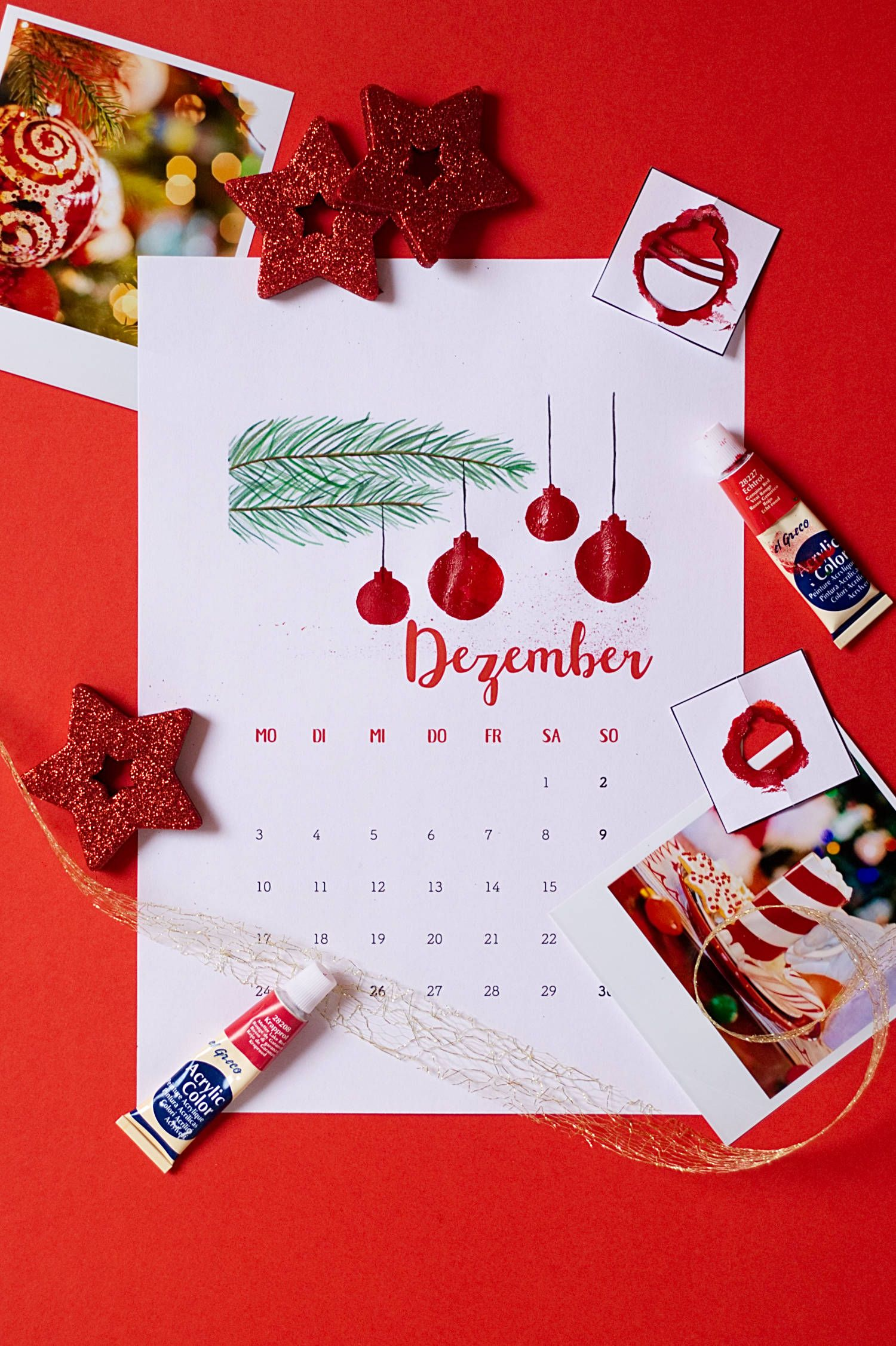 Dezember - Kalender 2018 zum Fingerstempeln