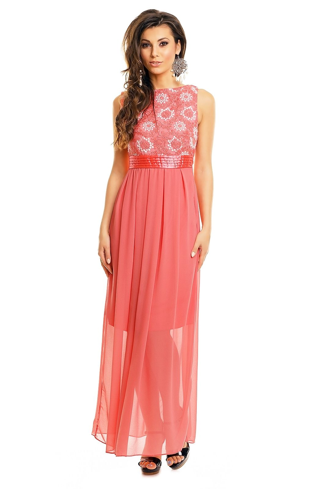 Robe soiree rose saumon