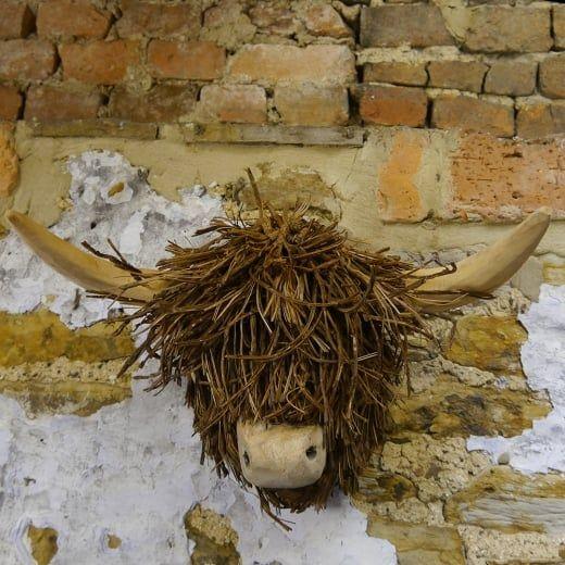 Wooden Sculpture Voyage Maison Highland Cow