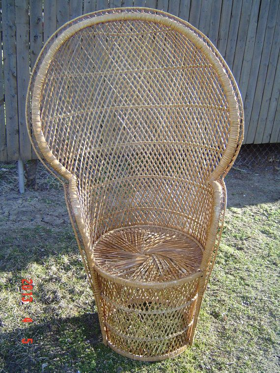 Awesome High Back Wicker Rattan Chair Peacock Fan Back By PennyBunny, $95.00