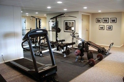 rubber over carpet in basement for home gym  gym room