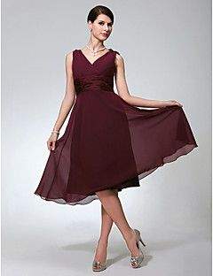 A Line V neck Knee Length Chiffon Bridesmaid Dress with Ruching by
