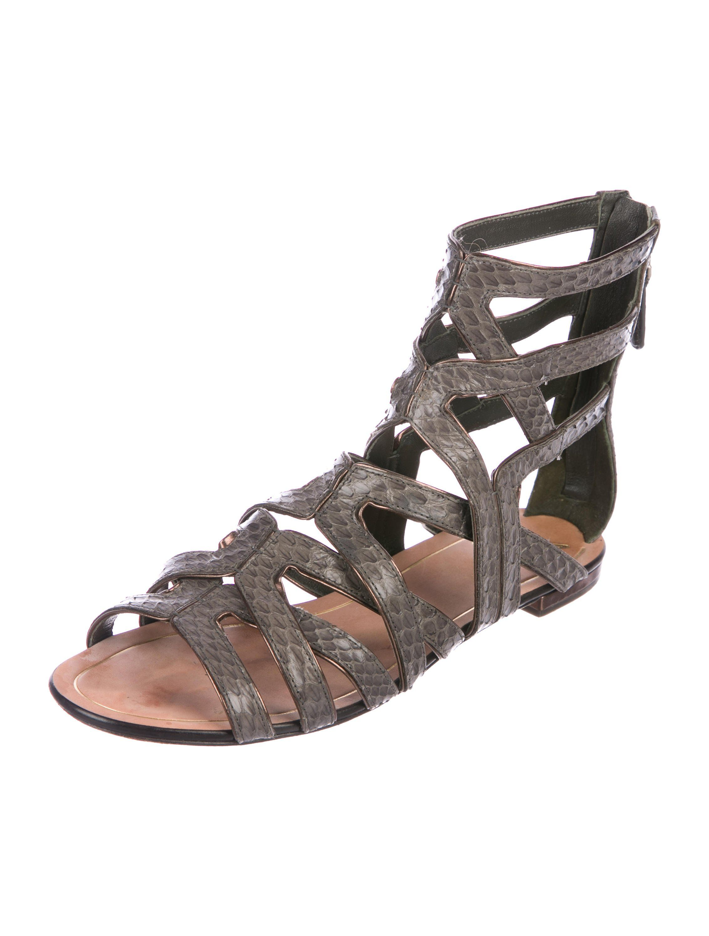 348c897287ac Anthracite snakeskin B Brian Atwood caged gladiator sandals with metallic  brown piping throughout