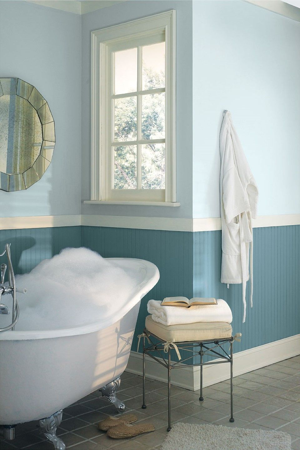 Superb Two Tone Bathroom Color Ideas Part - 2: Cool Two Tone Blue Bathroom Colors Idea Combined With White Freestanding  Tub Near Wire Table Also