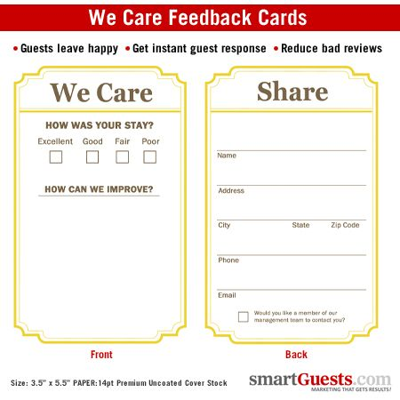 We Care Cards Comment Cards To Get Direct Guest Feedback  Carax