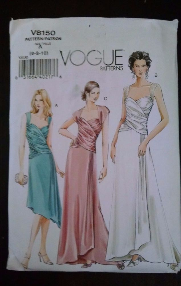 Vogue Pattern V8150 Draped Mock Wrap Formal Dress Wedding Bridesmaid