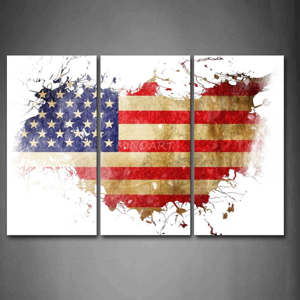 3 Piece Wall Art Painting American Flag In Its Country S Outline Print On Canvas The Picture Art 4 Pictu American Flag Painting Wall Art Painting Flag Painting