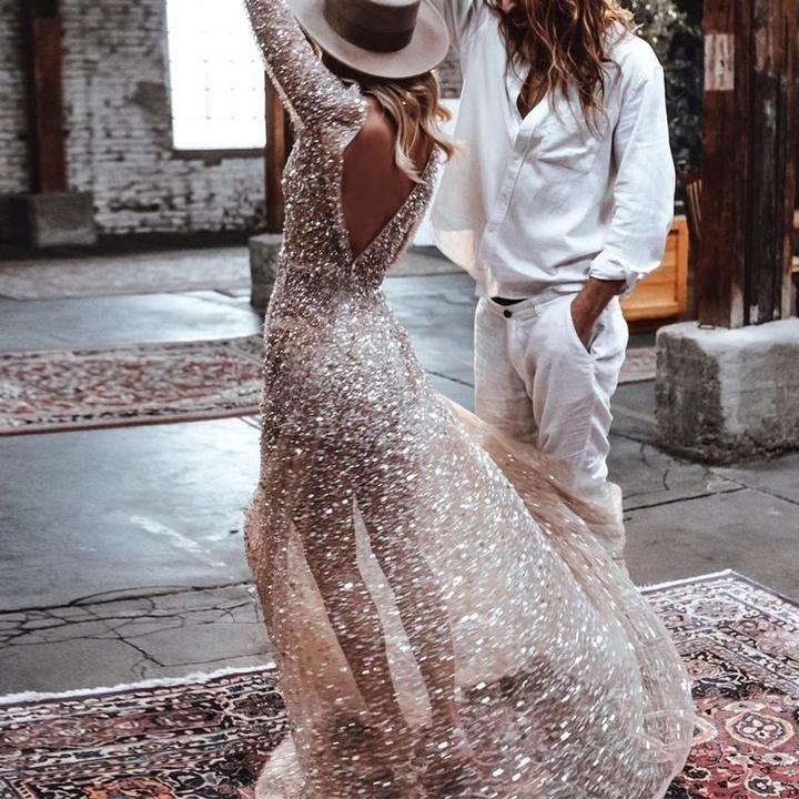 Fashion Round Collar Long Sleeved Bare Back Dress – joymanmall in 2020   Bare back dress. Wedding dress sequin. Evening dress fashion