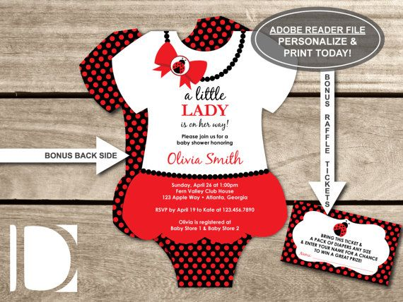 Little Lady Bug Baby Shower Invitation With FREE Diaper Raffle Ticket File,  Red And Black