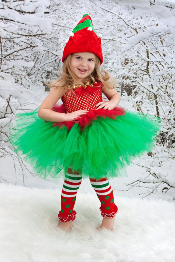 CHRISTMAS Elf Costume - Elf Tutu Dress - Tutu with Elf Hat - Girls ...