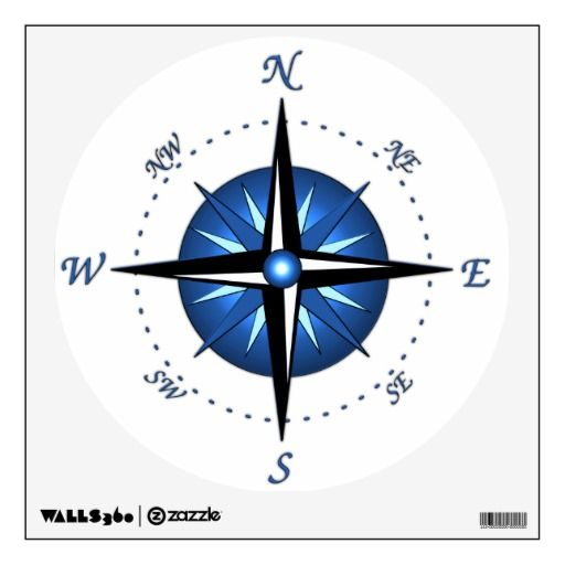 Blue Compass Rose Wall Sticker Zazzle Com Compass Rose