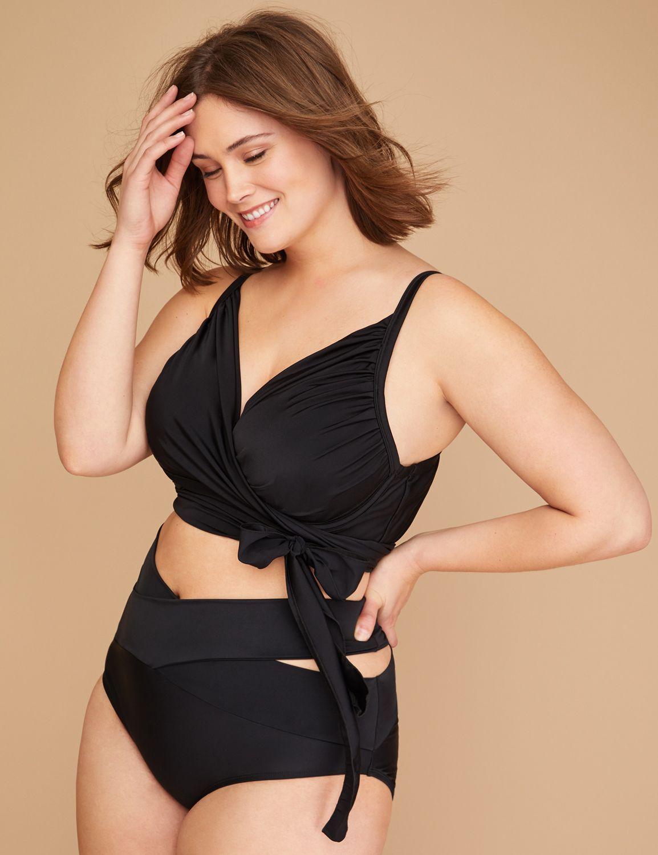 05a32de89b577 Wrap Longline Swim Bikini Top with Built-In Plunge Bra Plus Size Bikini