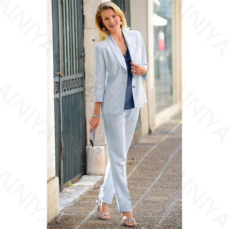 Light Sky Blue Womens Formal Wear Pantsuits Female Office Uniform Lady Trouser