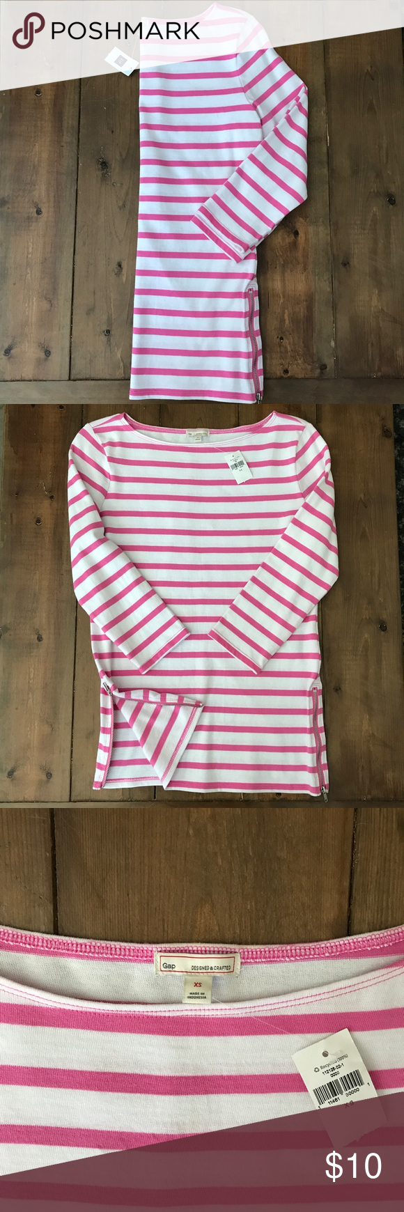 Pink And White Stripe Gap 3 4 Sleeve Top Nwt Clothes Design Pink And White Stripes Fashion Design