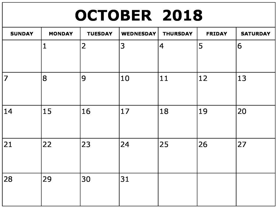 Free Printable Calendar October Daily Template With