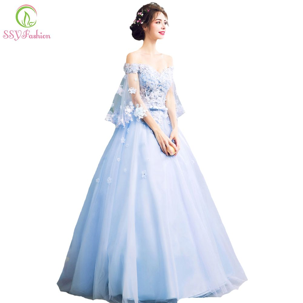 b52df400ca SSYFashion New Romantic Blue Flower Fairy Evening Dress Bride ...