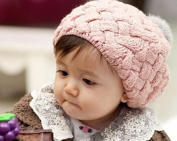 Rosa Wollmütze mit Kunstkaninchenfell Pom Pom – 3 Monate bis 3 Jahre   – Products