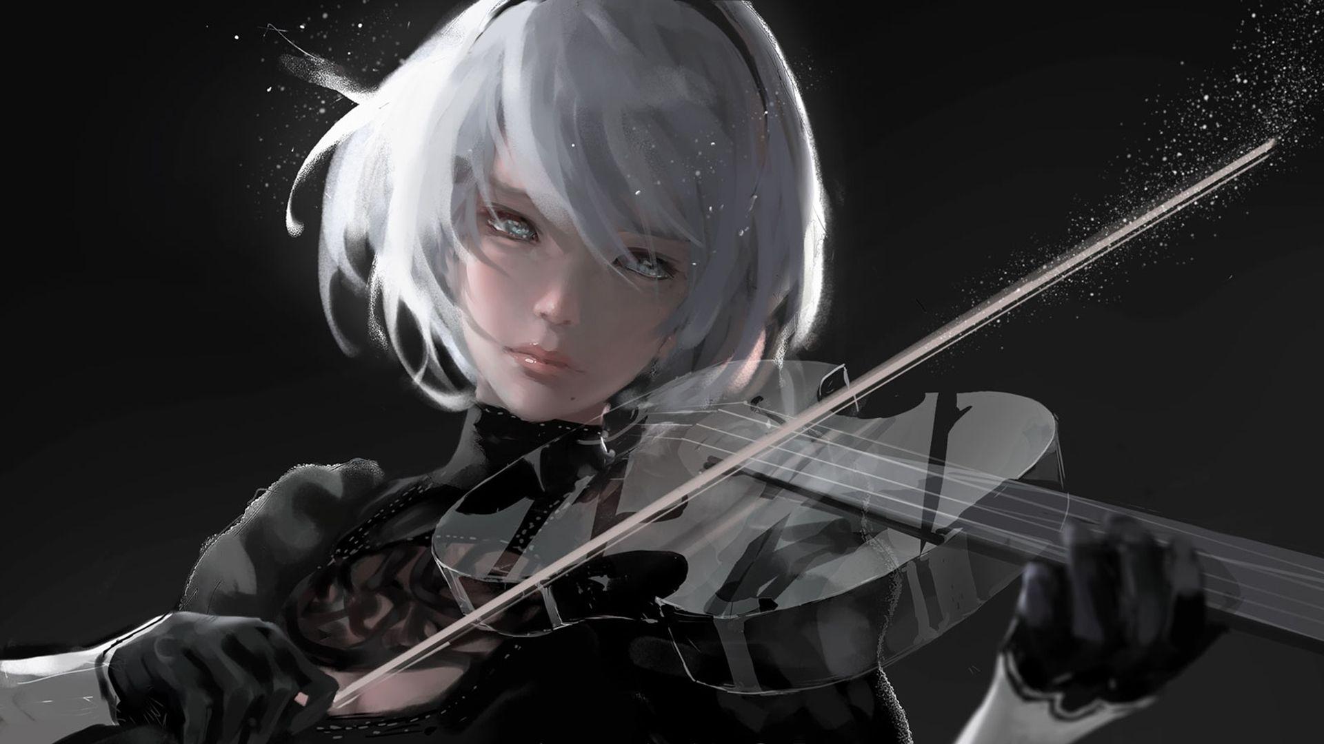 Wallpaper Geek Girl Hd 2b Playing Violin Nier Automata Inspiration