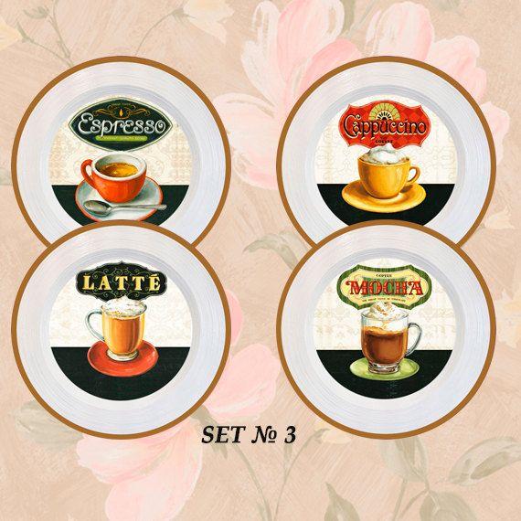 Wall decor 4 plates set \ Coffee break\  - home decor vintage art & Coffee decor coffee kitchen decor coffee wall decor coffee wall ...