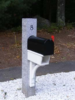 Thermal 2 Split Face 2 Engraved Woodbury Gray Mailbox Post