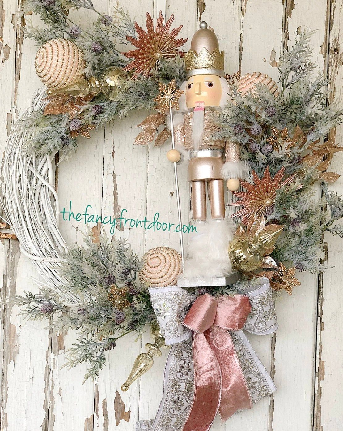 Elegant Rose Gold Nutcracker Wreath Home decor ideas for