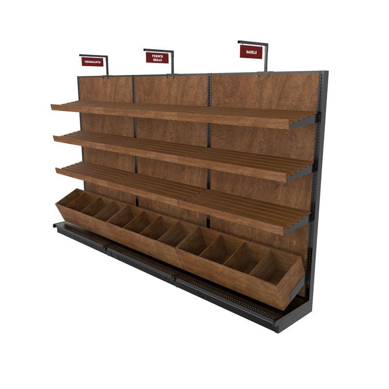 Bread Display Racks Single Sided Wood Gondola Shelf Kit 12ft L Bread Display Display Shelves Display Shelf Design