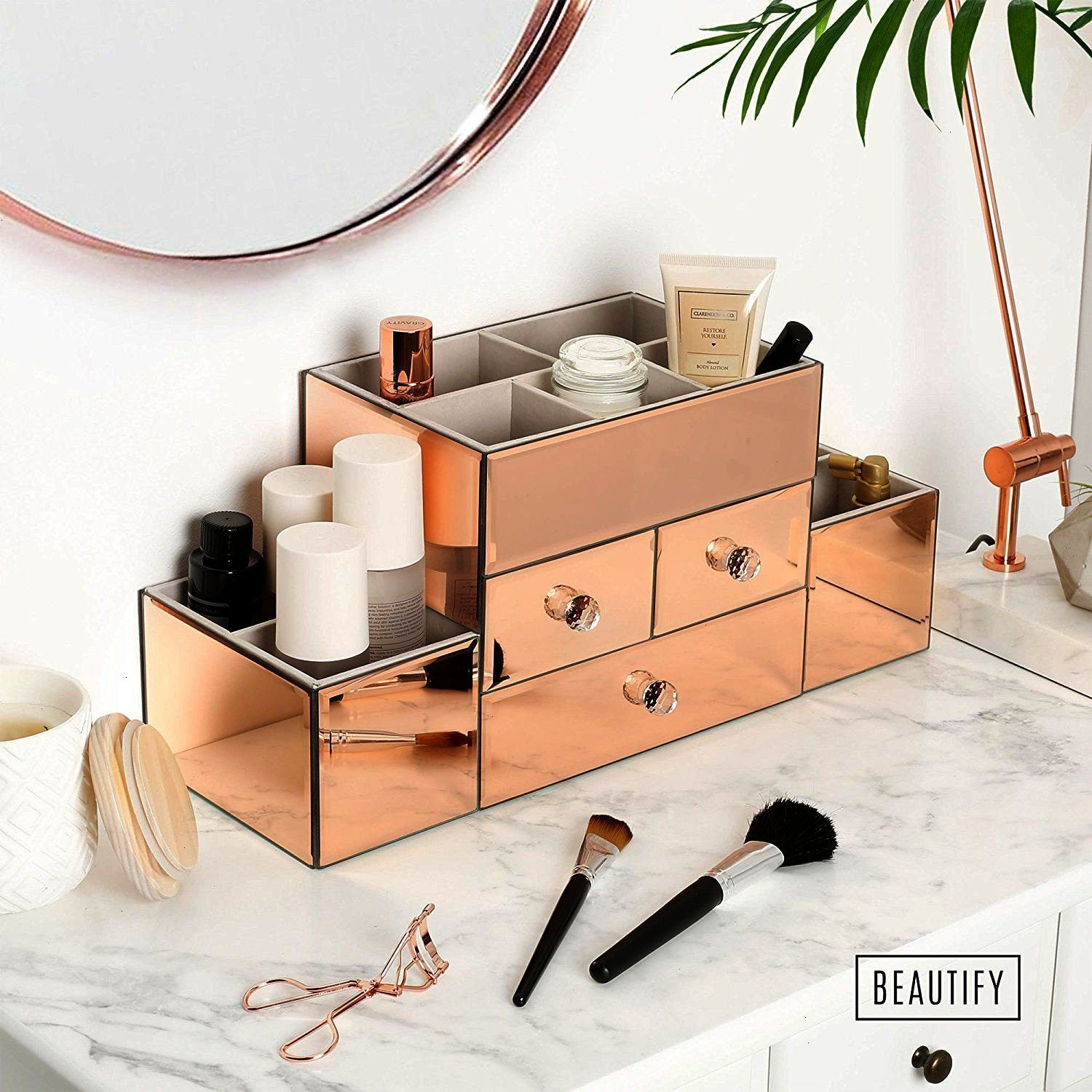 Beautify Rose Gold Mirrored Glass Jewellery Box & Makeup Organiser