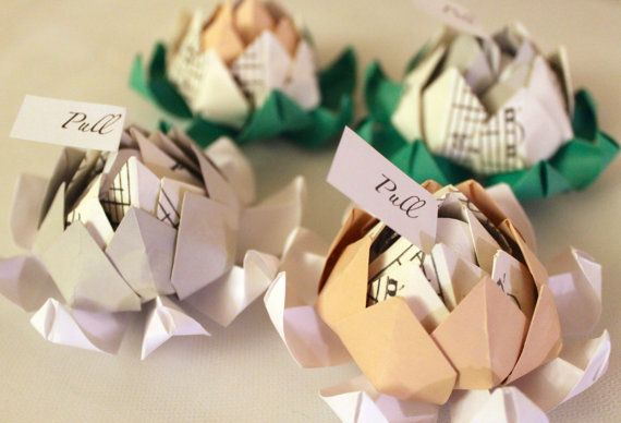 Fifty 50 Origami Lotus Blossom Wedding Favors With Personalized Message Sheet Music Accent Alternative Flowers