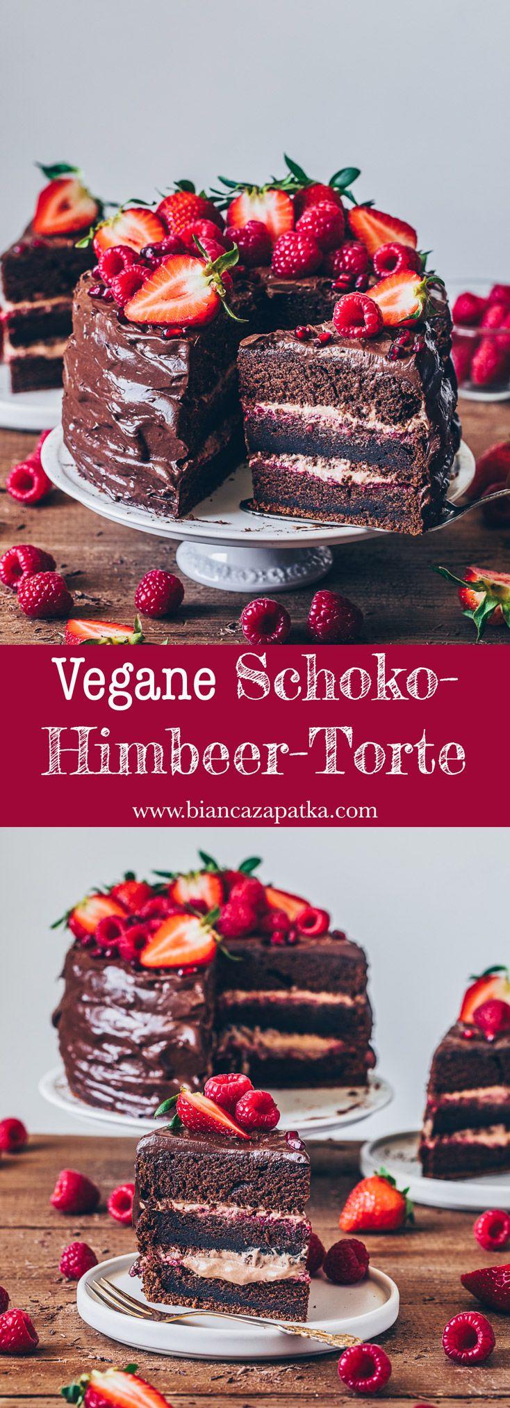Schoko-Himbeer-Torte mit Erdbeeren - Vegan - Bianca Zapatka | Rezepte