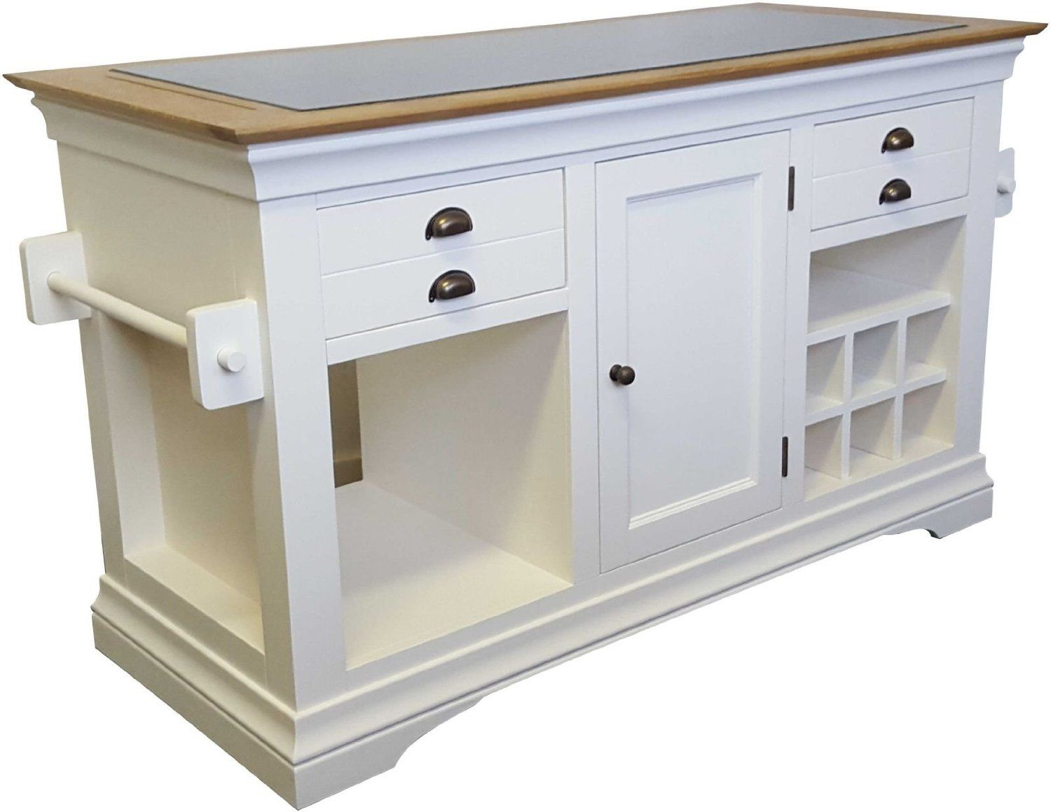 Dijon cream painted furniture large granite top kitchen island unit worktop amazon co uk kitchen home