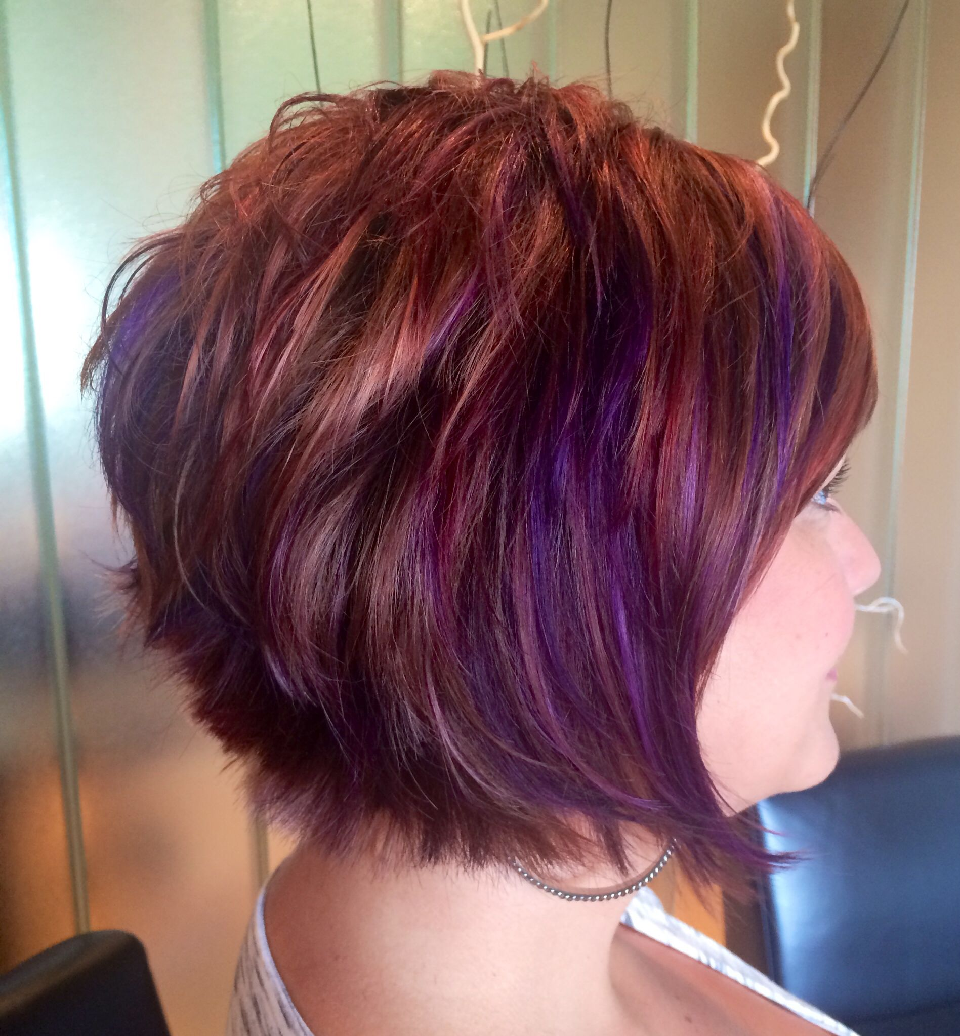 Purplehair Copper Gold Red Hi Lights With Purple Panels Shorthair Hair Styles Short Hair Styles Hair Highlights