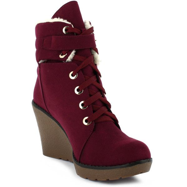 54eec03e866 QQO wedge bootie in a wine suede finish ( 26) ❤ liked on Polyvore featuring  shoes