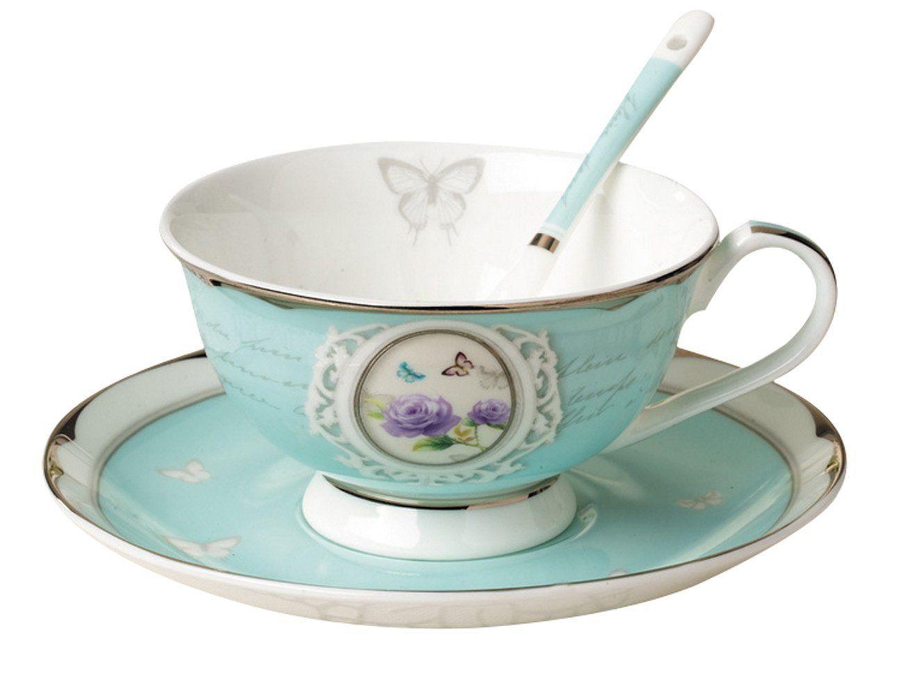 Amazon.com: Jsaron China Porcelain Blue Rose Teacup Saucer Boxed Set ...