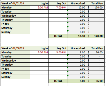 tracking hours template