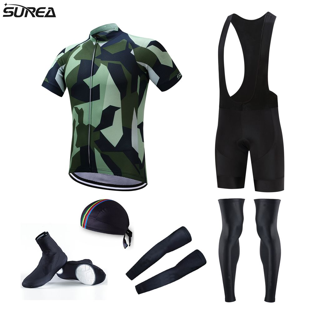 8c8432260 Surea Pro Team Cycling Jersey Full Set Army Green Cycling Jerseys Sets with Bicycle  Bib Shorts and Leg Warmer MTB Ropa Ciclismo