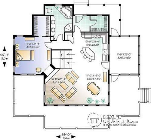 W3914 - Plan de chalet avec grande terrasse, chambre parents au rez