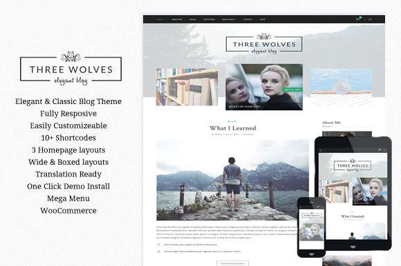Three Wolves - Wordpress Blog Theme by wiloke on Creative Market