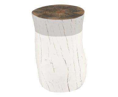 Tavolino sgabello in legno di pino tronco grigio cm