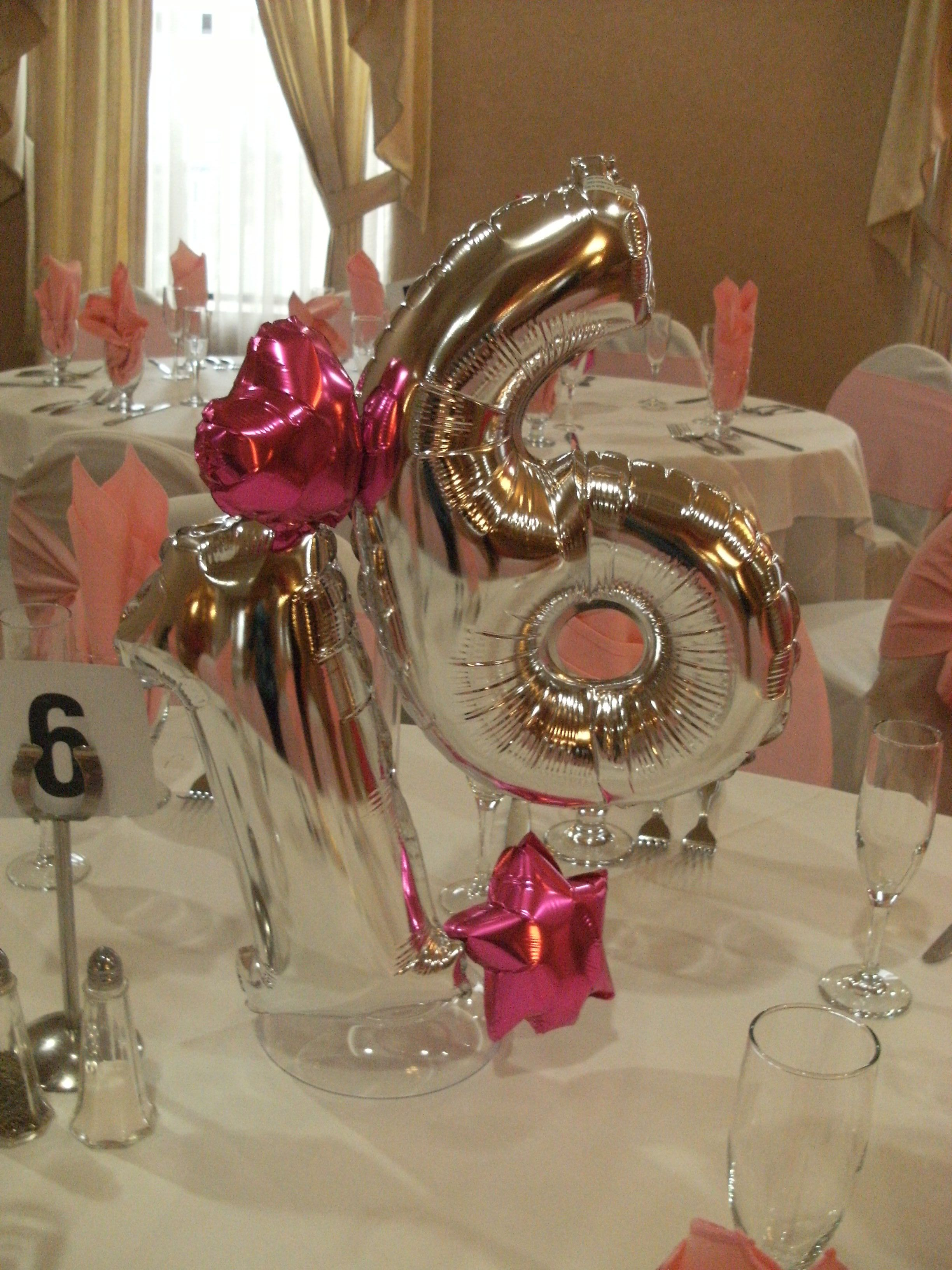 Sweet sixteen centerpiece rosanna balloons pinterest for Balloon decoration ideas for sweet 16