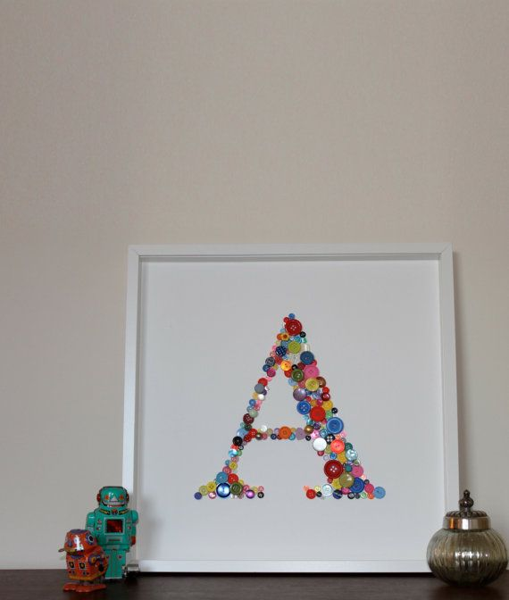 Large+Initial+Letter+Button+Framed+Picture+by+mikermsmith+on+Etsy,+£115.00