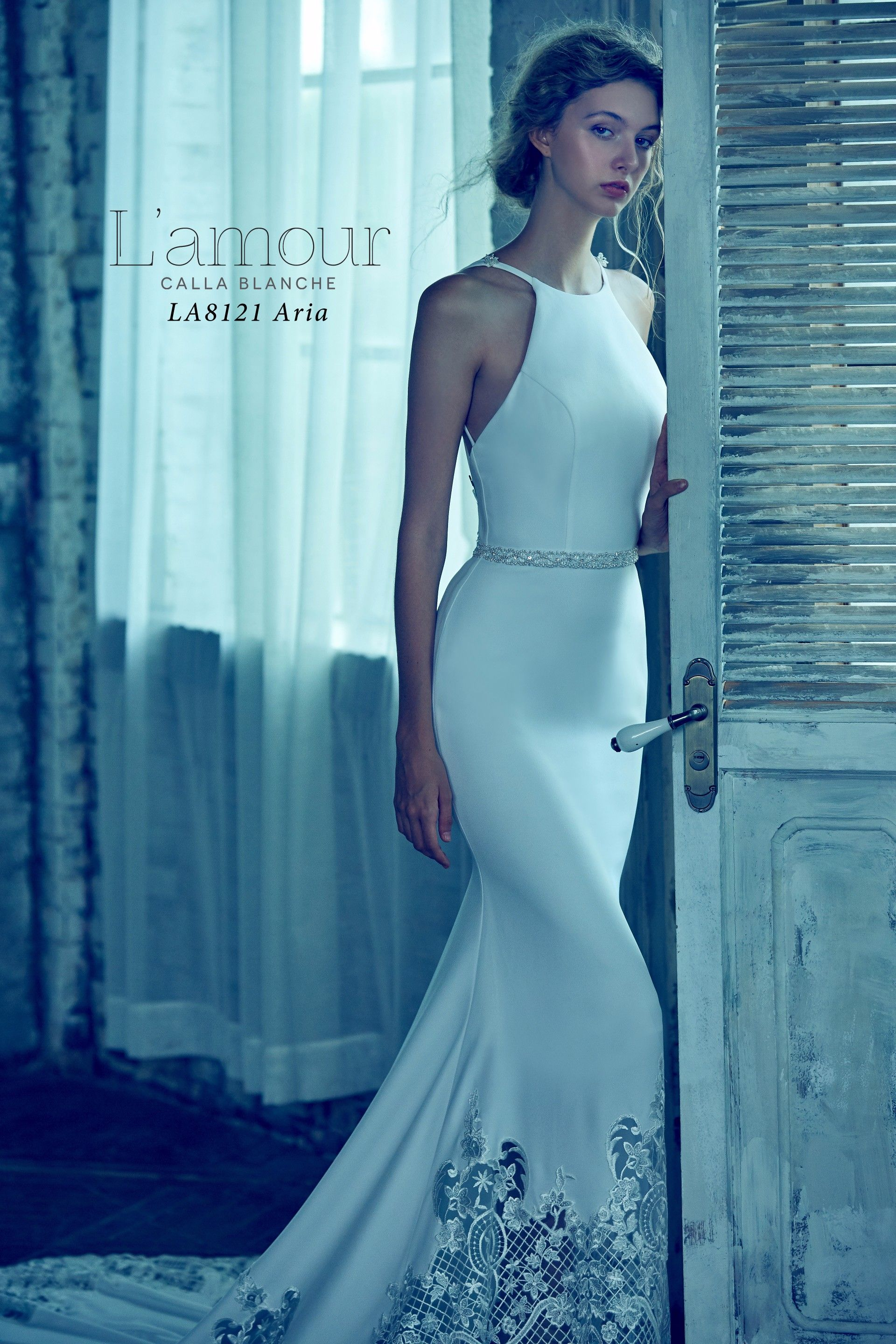 LA8121 Aria Sleek and sexy high neck crepe gown with intricate ...