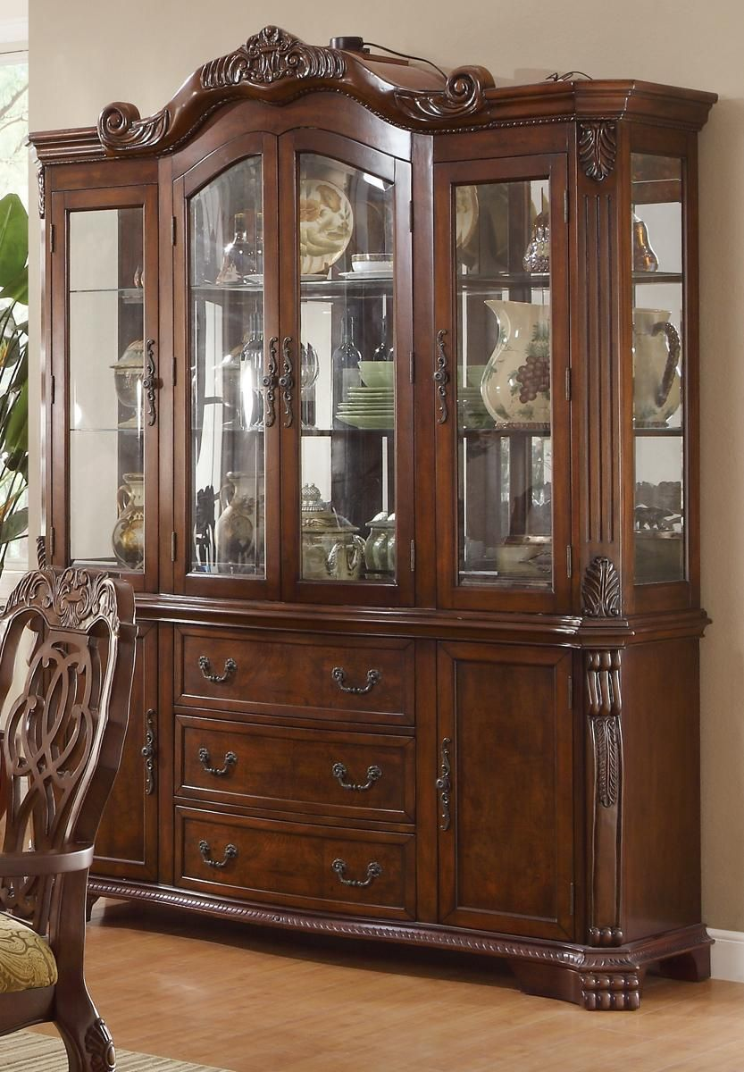 "C103444 Hand Crafted Burl Cherry China Dislay Cabinet, Lighted, Mirror backing, 68""long x 90.25""tall, Dovetail Drawer Joints, Draers and Cabinet Storage 