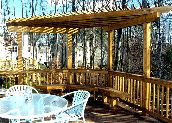 corner pergola with benches we are going to build around. Black Bedroom Furniture Sets. Home Design Ideas