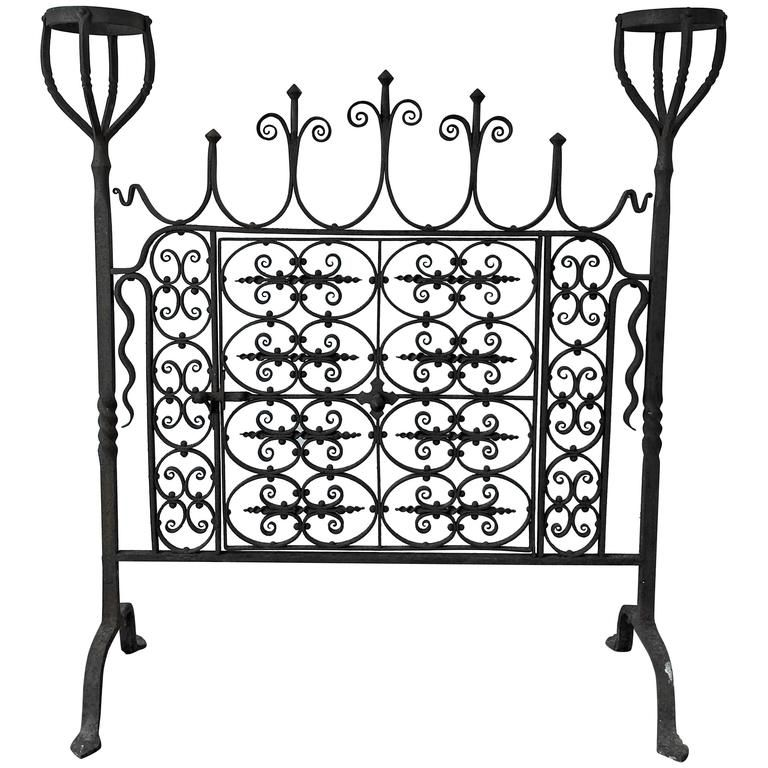 18th century wrought iron hand f ed fire screen interesting 18th Century Men 18th century wrought iron hand f ed fire screen from a unique collection of antique