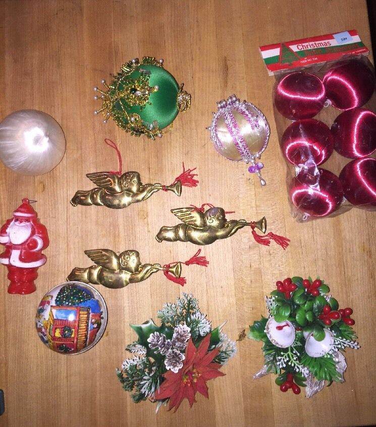 lot of vintage christmas ornaments japan hong kong corsage angel silk balls tin ebay