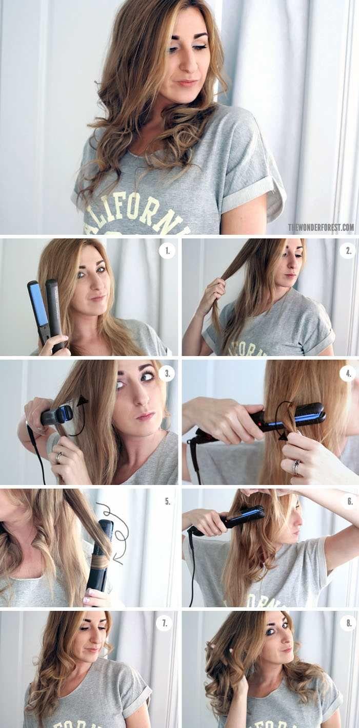 Cheveux boucl s avec un lisseur astuces et tutos en photos ondulation boucles et faire - Boucle avec fer a lisser ...