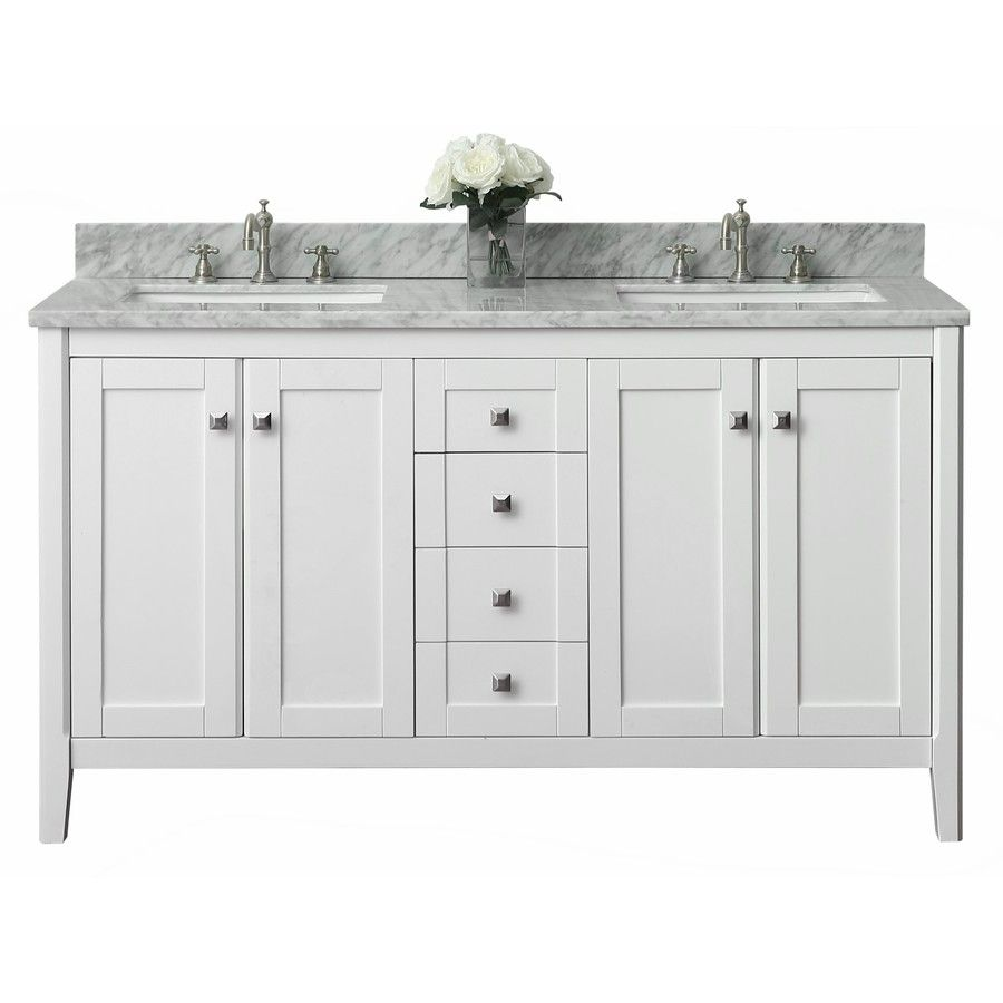 Ancerre Designs Shelton White Undermount Double Sink Bathroom