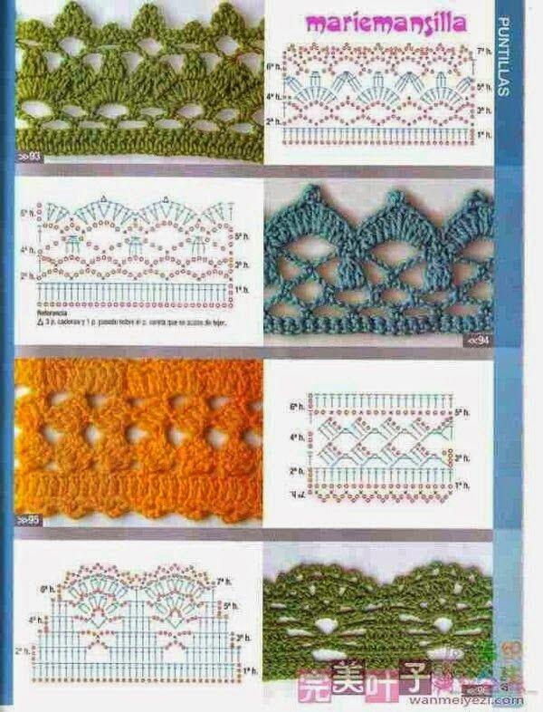 patrones de puntillas y cenefas | cuellos tejidos | Pinterest ...