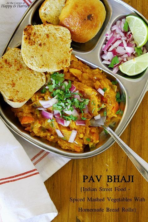 Pav Bhaji Indian Street Food Spiced Mashed Vegetables With